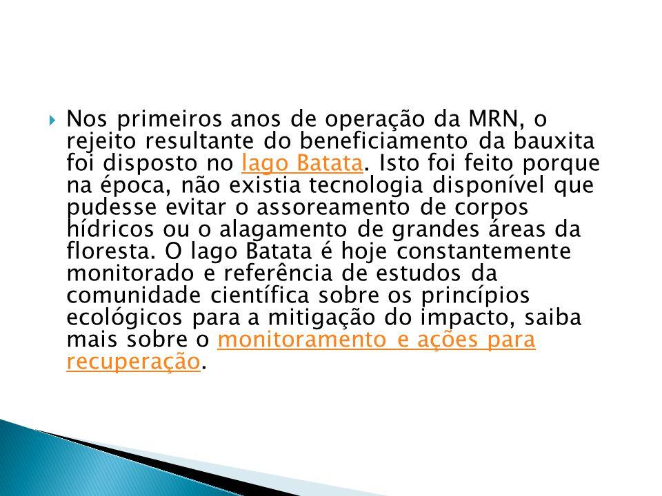 Nos primeiros anos de operação da MRN, o rejeito resultante do beneficiamento da bauxita foi disposto no lago Batata.