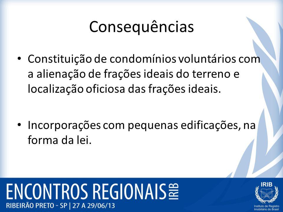 Consequências Constituição de condomínios voluntários com a alienação de frações ideais do terreno e localização oficiosa das frações ideais.