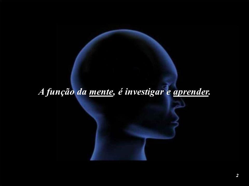 A função da mente, é investigar e aprender.