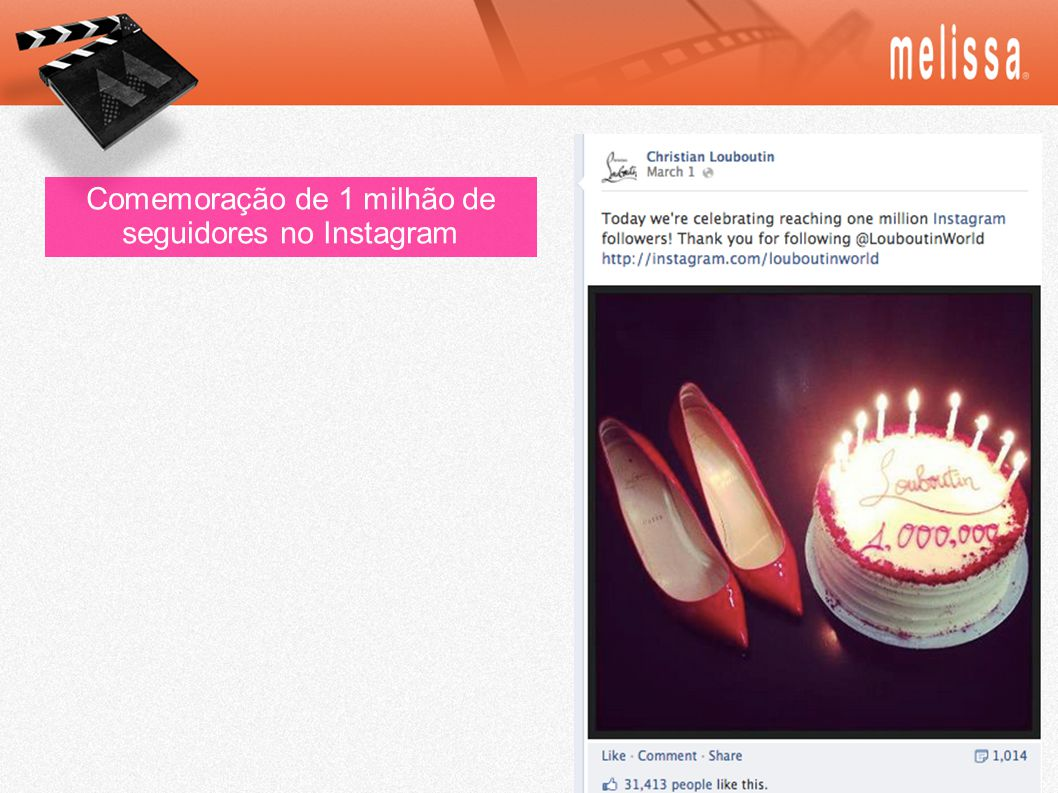 Comemoração de 1 milhão de seguidores no Instagram