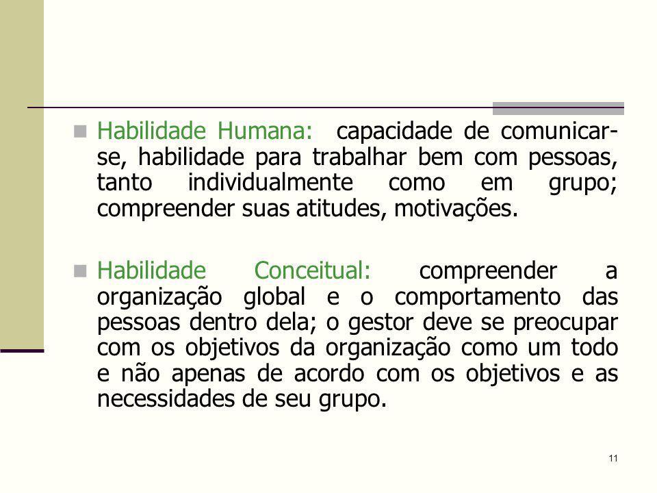 Habilidade Humana: capacidade de comunicar-se, habilidade para trabalhar bem com pessoas, tanto individualmente como em grupo; compreender suas atitudes, motivações.