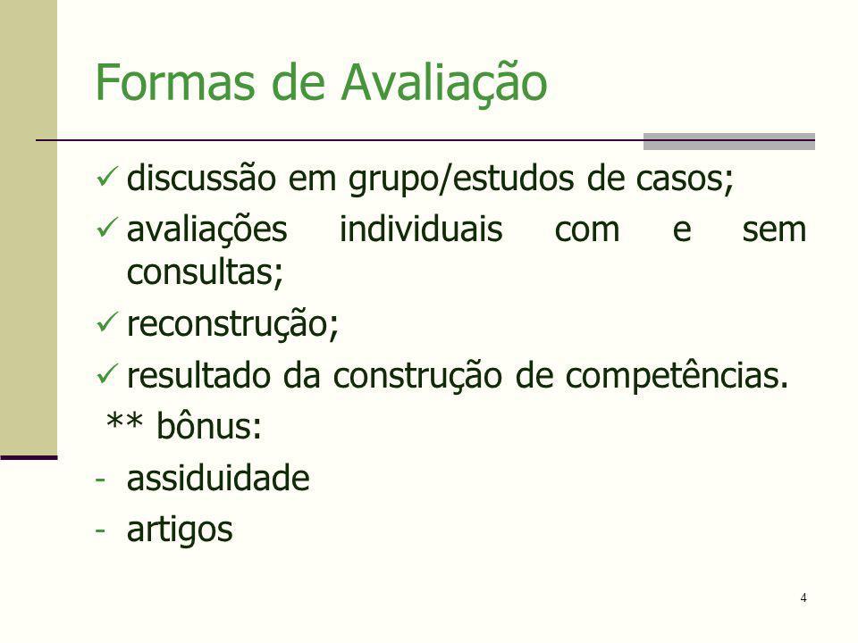 Formas de Avaliação discussão em grupo/estudos de casos;
