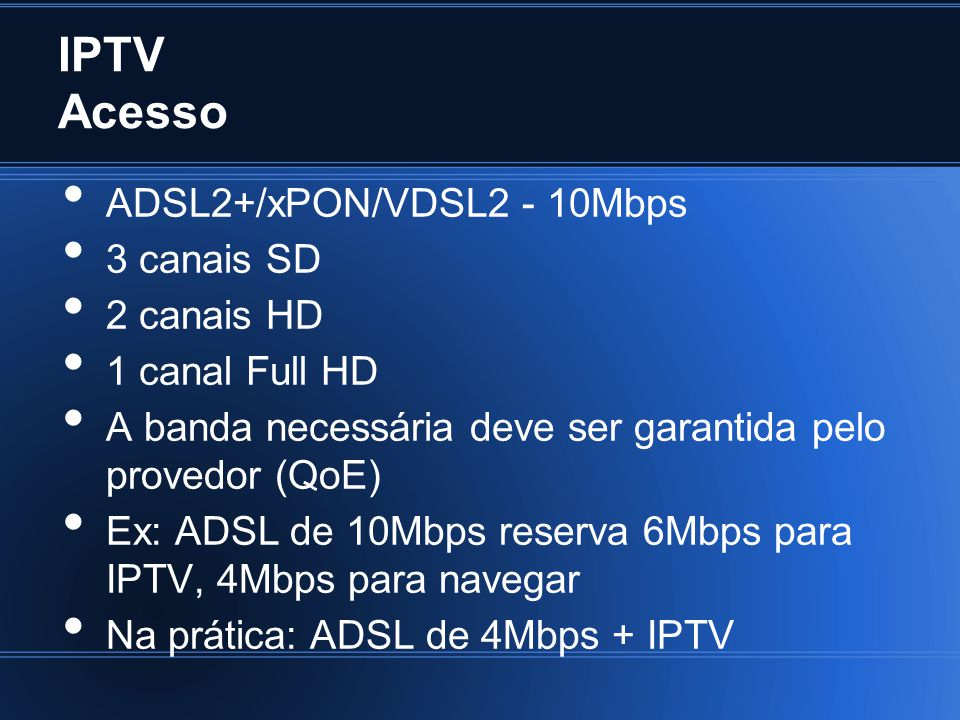 IPTV Acesso ADSL2+/xPON/VDSL2 - 10Mbps 3 canais SD 2 canais HD