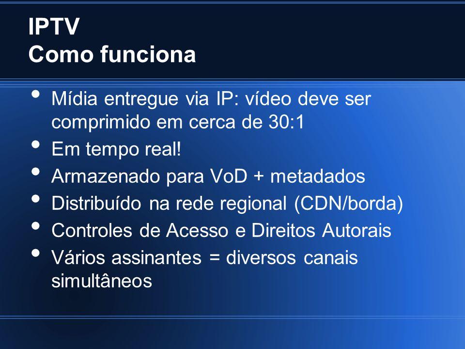IPTV Como funciona Mídia entregue via IP: vídeo deve ser comprimido em cerca de 30:1. Em tempo real!