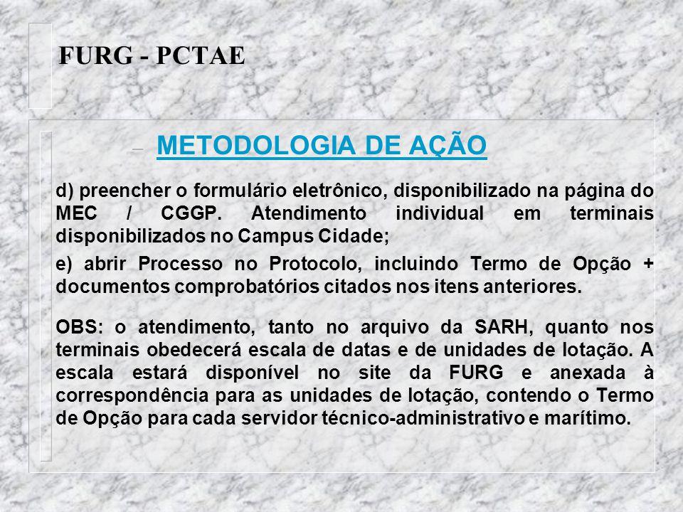 FURG - PCTAE METODOLOGIA DE AÇÃO