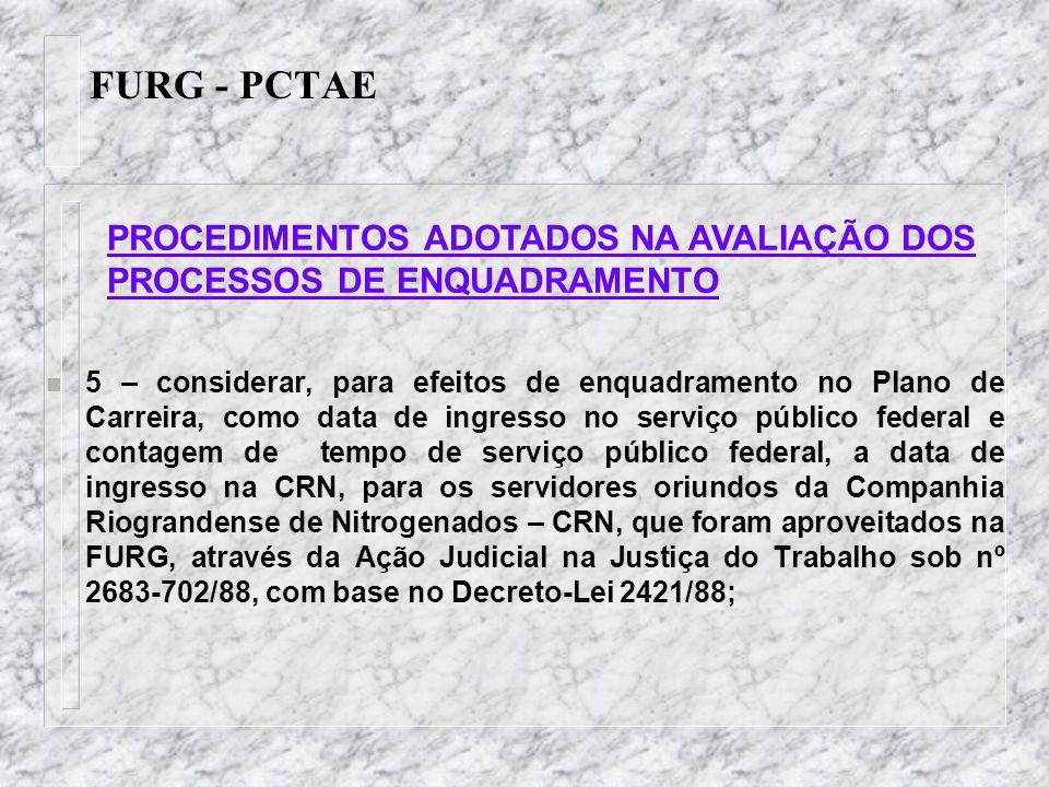 FURG - PCTAE PROCEDIMENTOS ADOTADOS NA AVALIAÇÃO DOS PROCESSOS DE ENQUADRAMENTO.