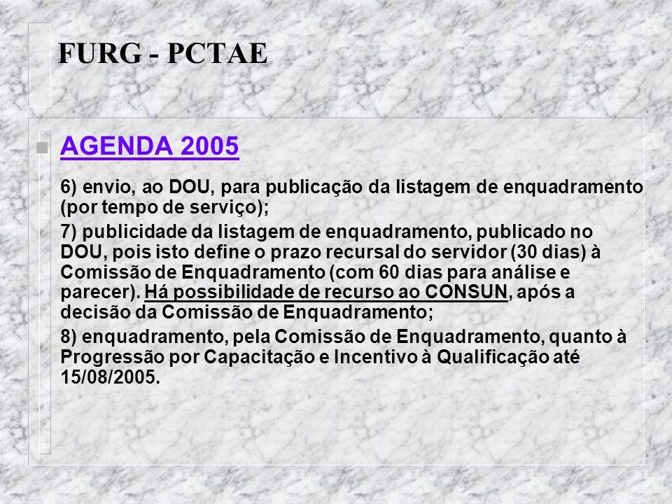 FURG - PCTAE AGENDA 2005. 6) envio, ao DOU, para publicação da listagem de enquadramento (por tempo de serviço);
