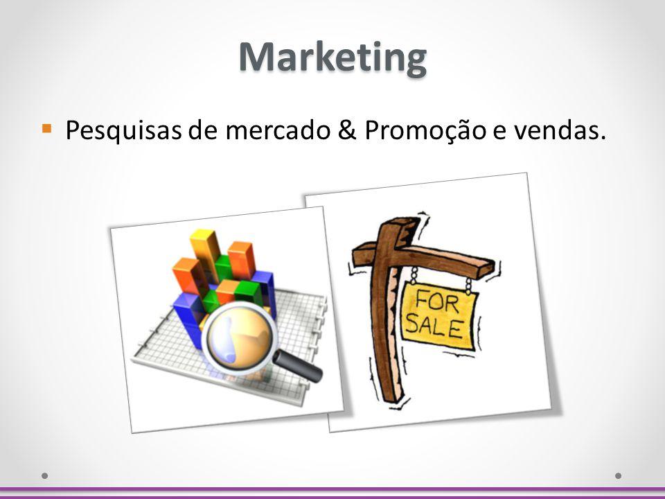 Marketing Pesquisas de mercado & Promoção e vendas.