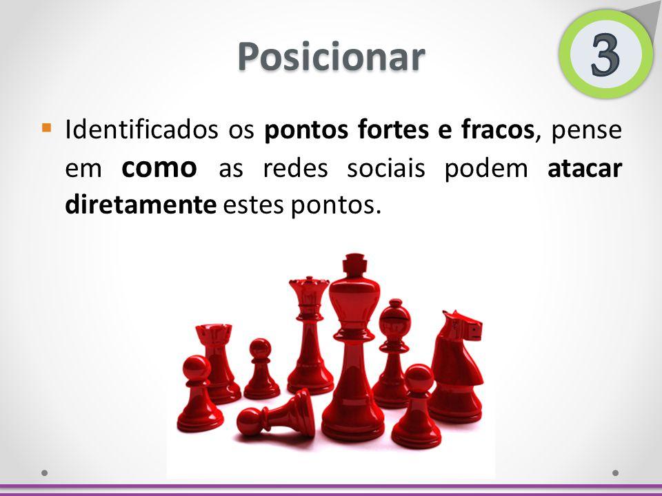 3 Posicionar. Identificados os pontos fortes e fracos, pense em como as redes sociais podem atacar diretamente estes pontos.