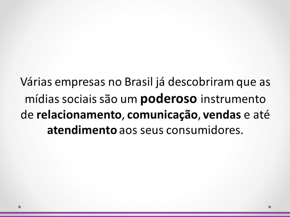 Várias empresas no Brasil já descobriram que as mídias sociais são um poderoso instrumento de relacionamento, comunicação, vendas e até atendimento aos seus consumidores.