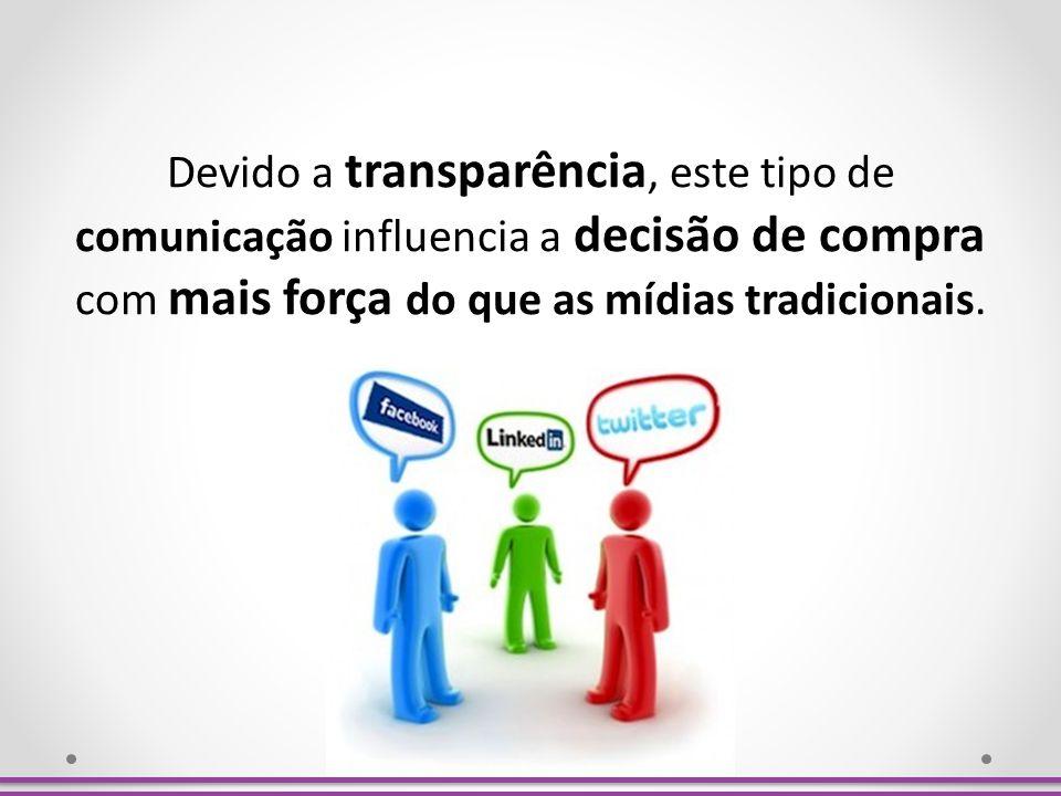Devido a transparência, este tipo de comunicação influencia a decisão de compra com mais força do que as mídias tradicionais.
