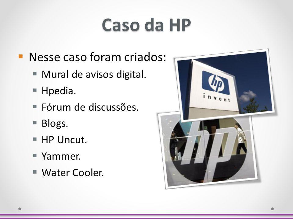 Caso da HP Nesse caso foram criados: Mural de avisos digital. Hpedia.