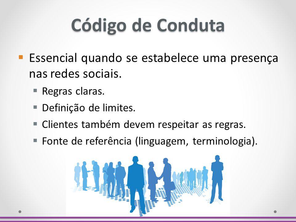 Código de Conduta Essencial quando se estabelece uma presença nas redes sociais. Regras claras. Definição de limites.