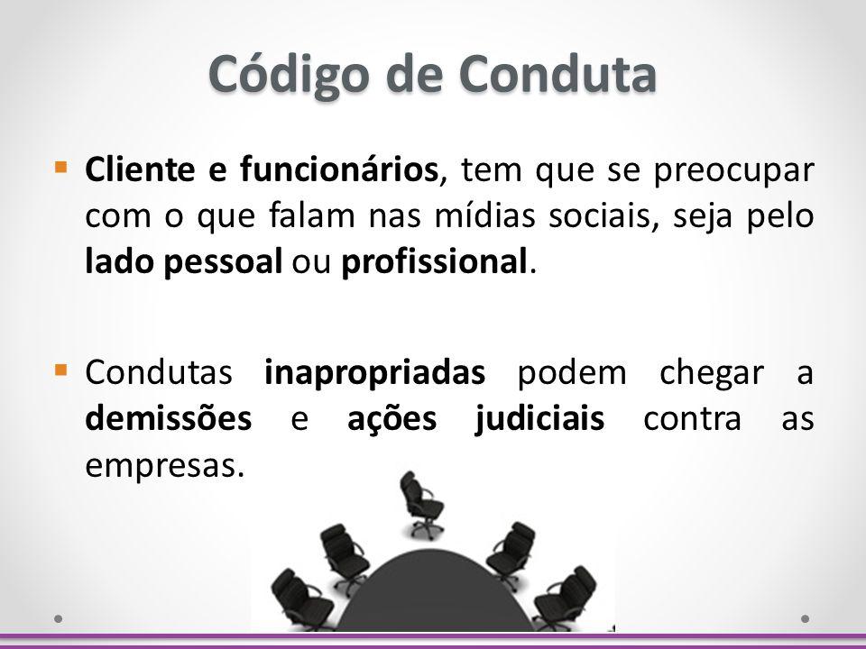 Código de Conduta Cliente e funcionários, tem que se preocupar com o que falam nas mídias sociais, seja pelo lado pessoal ou profissional.