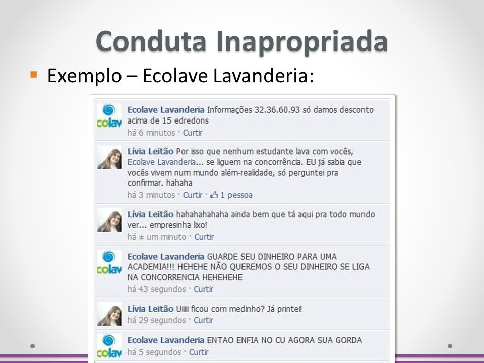 Conduta Inapropriada Exemplo – Ecolave Lavanderia: