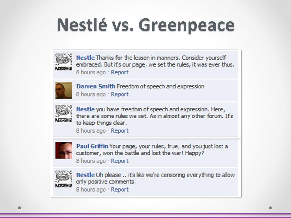 Nestlé vs. Greenpeace As postagens variavam por volta de 20-40 comentários.