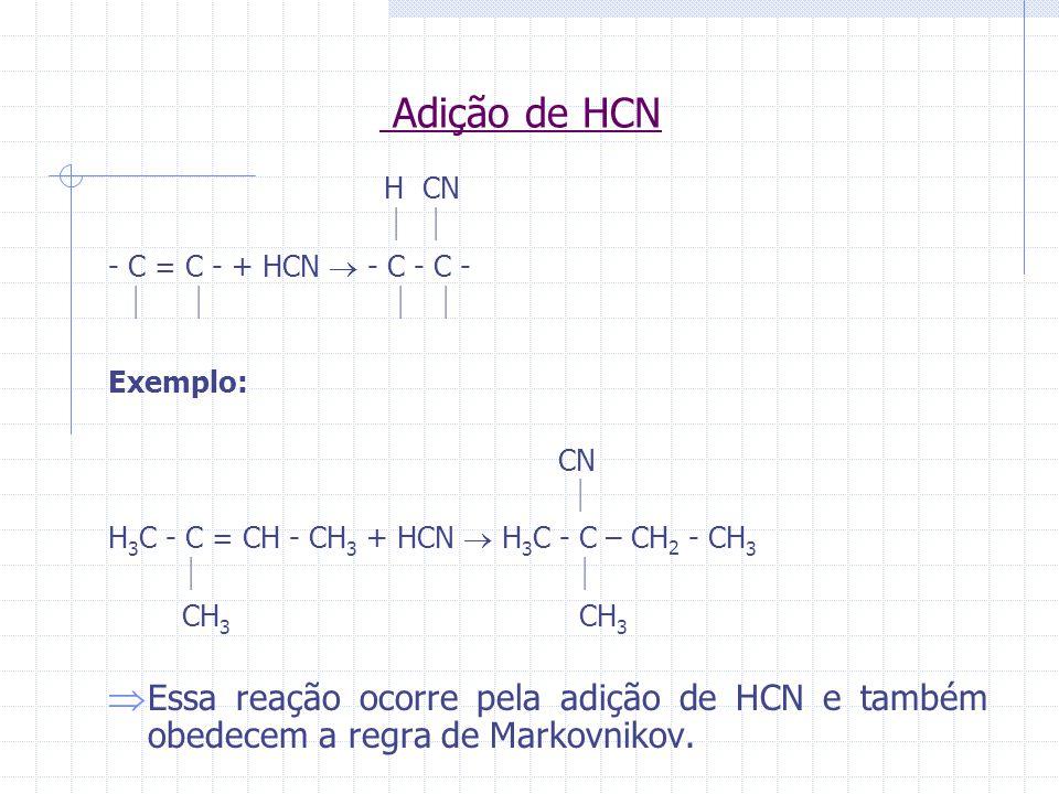 Adição de HCN H CN.   - C = C - + HCN  - C - C -     Exemplo: