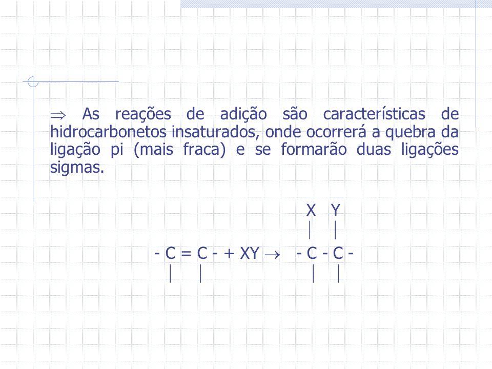 As reações de adição são características de hidrocarbonetos insaturados, onde ocorrerá a quebra da ligação pi (mais fraca) e se formarão duas ligações sigmas.