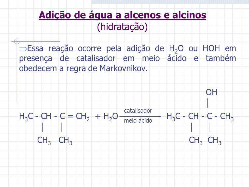Adição de água a alcenos e alcinos (hidratação)