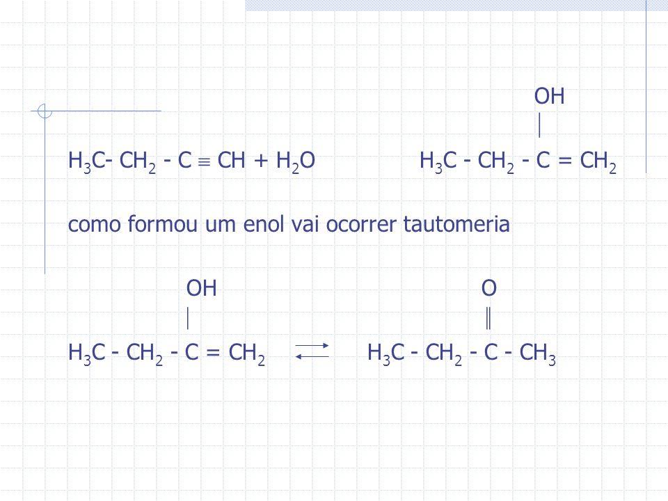 OH  H3C- CH2 - C  CH + H2O H3C - CH2 - C = CH2. como formou um enol vai ocorrer tautomeria.