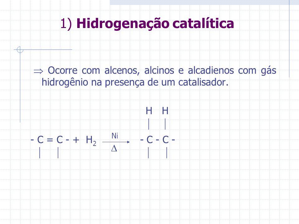 1) Hidrogenação catalítica