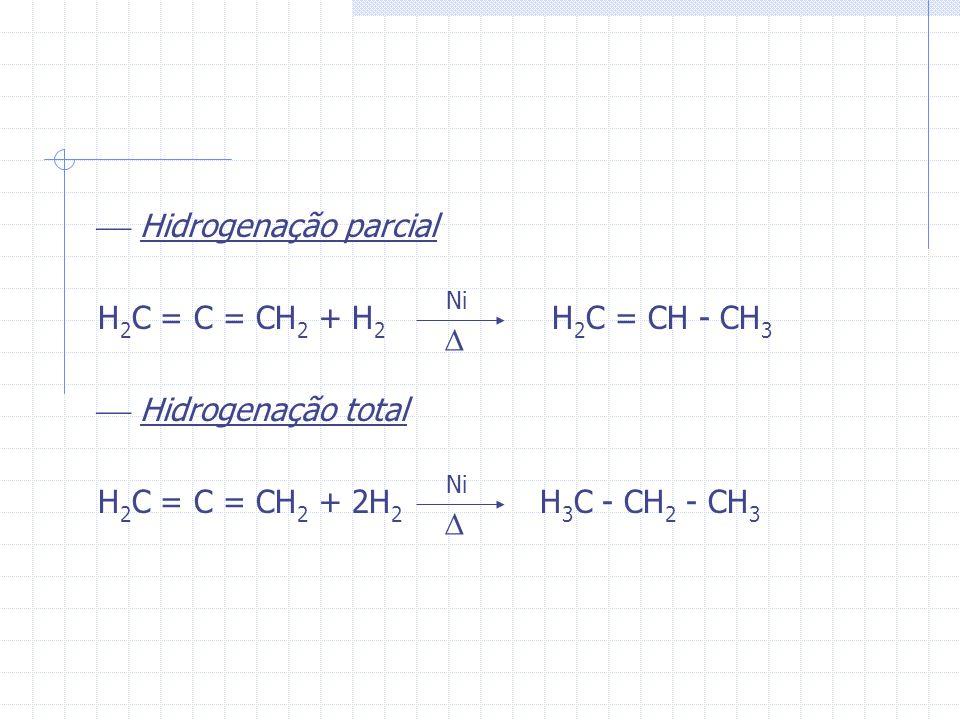 Hidrogenação parcial H2C = C = CH2 + H2 H2C = CH - CH3
