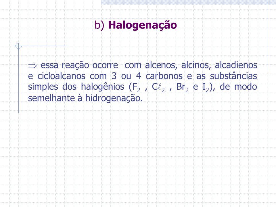 b) Halogenação