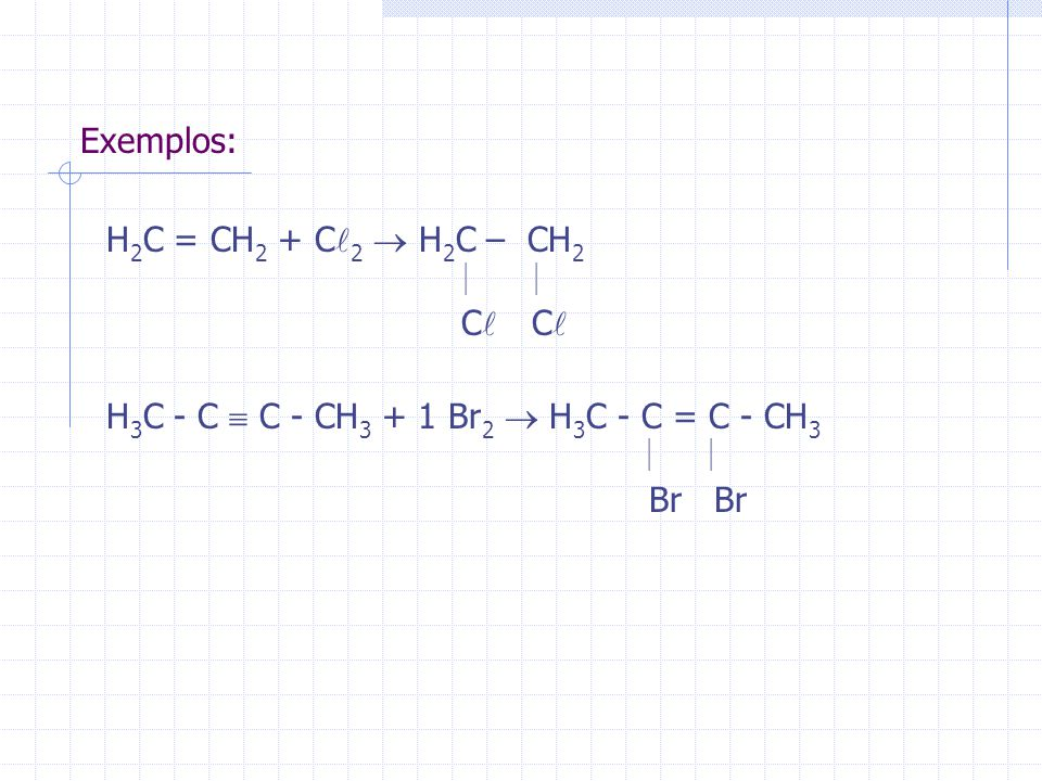 H3C - C  C - CH3 + 1 Br2  H3C - C = C - CH3 Br Br