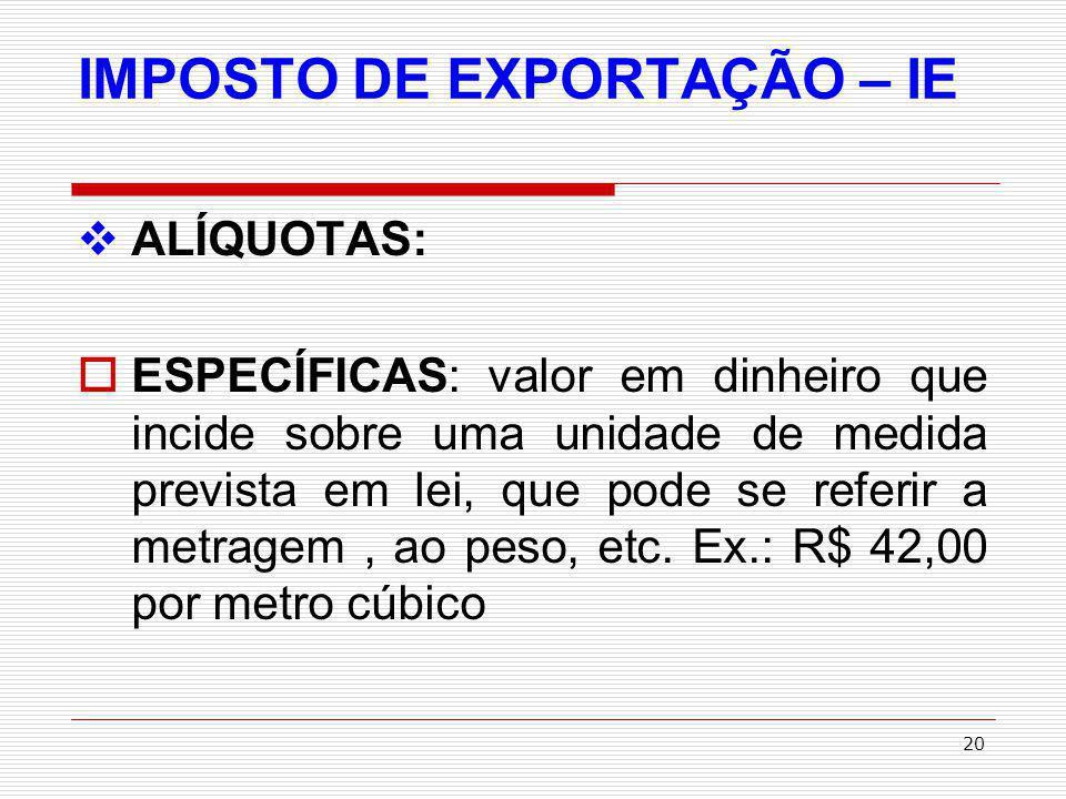 IMPOSTO DE EXPORTAÇÃO – IE