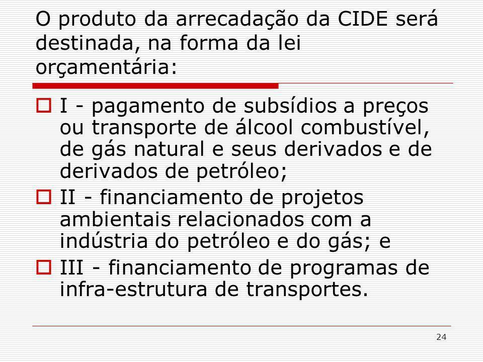 O produto da arrecadação da CIDE será destinada, na forma da lei orçamentária: