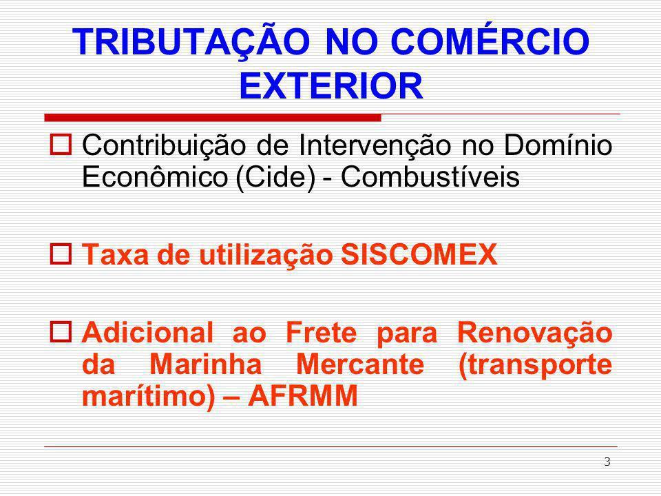 TRIBUTAÇÃO NO COMÉRCIO EXTERIOR