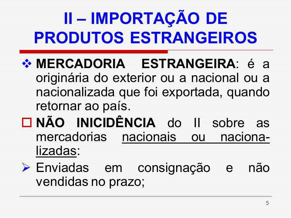 II – IMPORTAÇÃO DE PRODUTOS ESTRANGEIROS