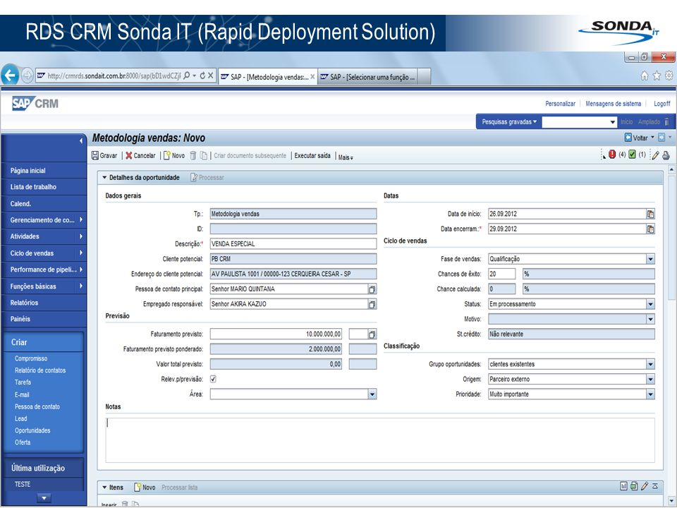 RDS CRM Sonda IT (Rapid Deployment Solution)