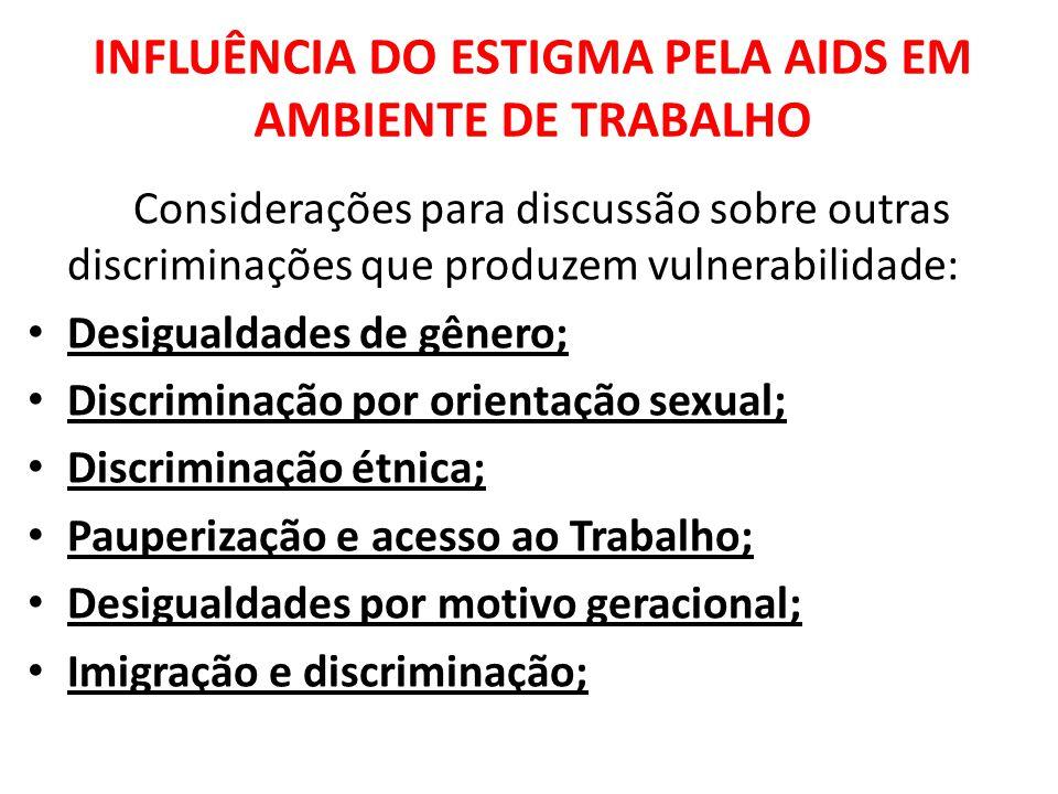 INFLUÊNCIA DO ESTIGMA PELA AIDS EM AMBIENTE DE TRABALHO