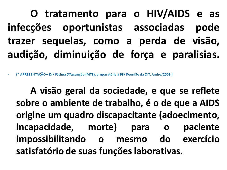 O tratamento para o HIV/AIDS e as infecções oportunistas associadas pode trazer sequelas, como a perda de visão, audição, diminuição de força e paralisias.