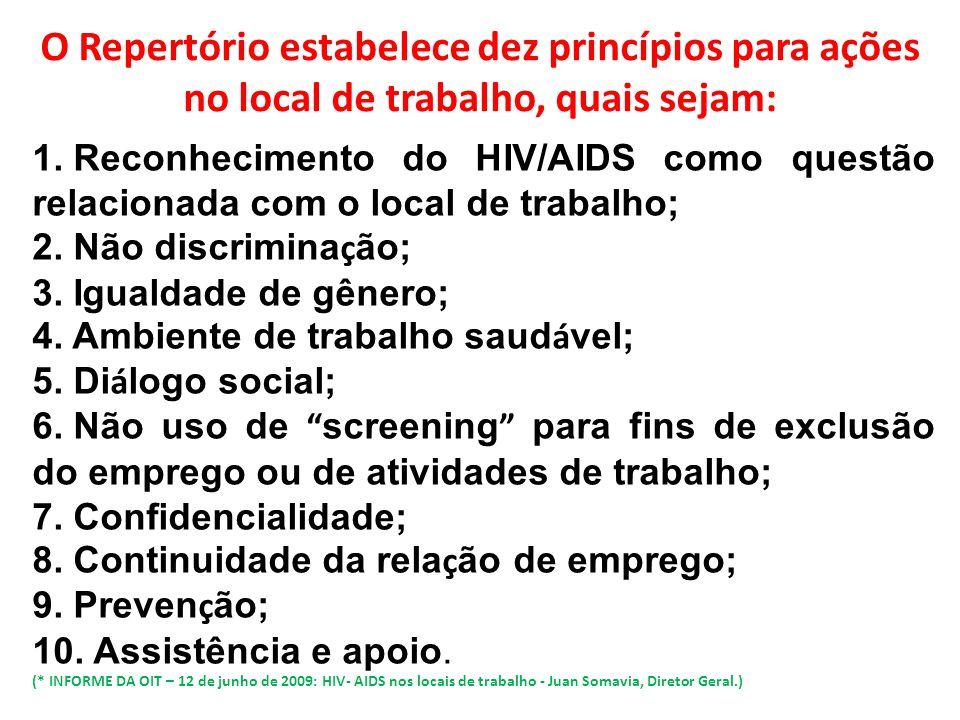O Repertório estabelece dez princípios para ações no local de trabalho, quais sejam: