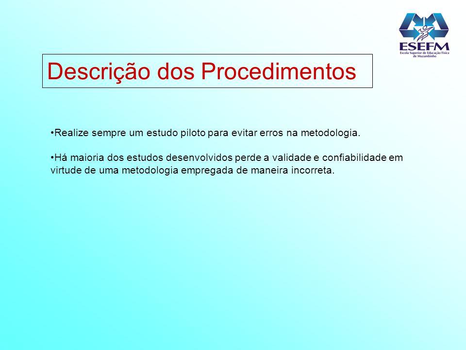 Descrição dos Procedimentos