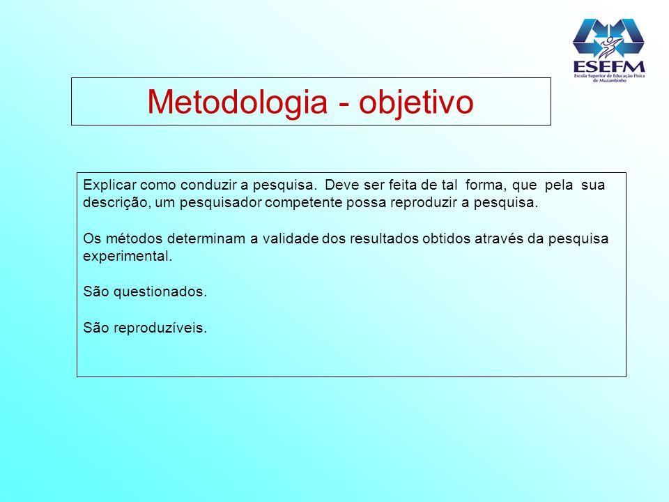 Metodologia - objetivo