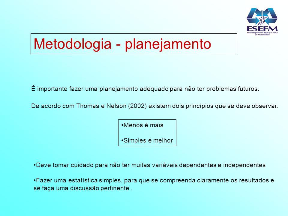 Metodologia - planejamento