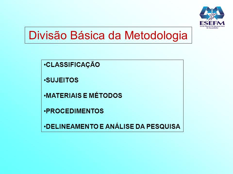 Divisão Básica da Metodologia