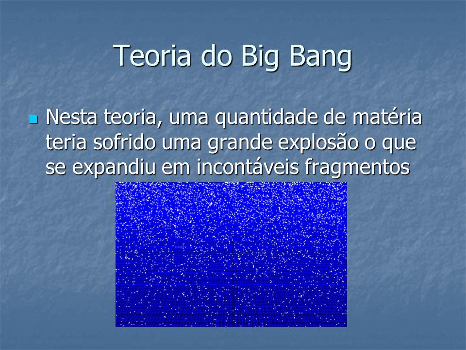 Teoria do Big Bang Nesta teoria, uma quantidade de matéria teria sofrido uma grande explosão o que se expandiu em incontáveis fragmentos.