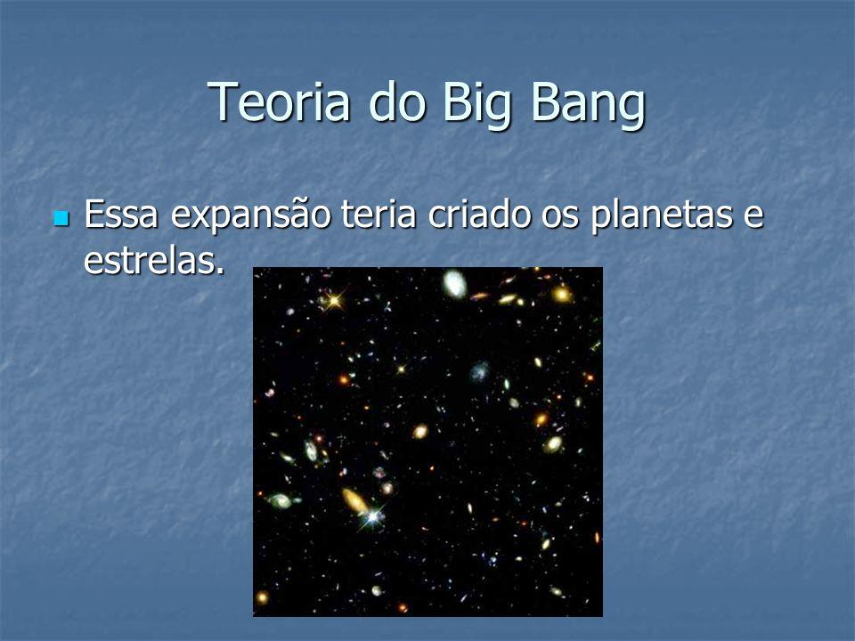 Teoria do Big Bang Essa expansão teria criado os planetas e estrelas.