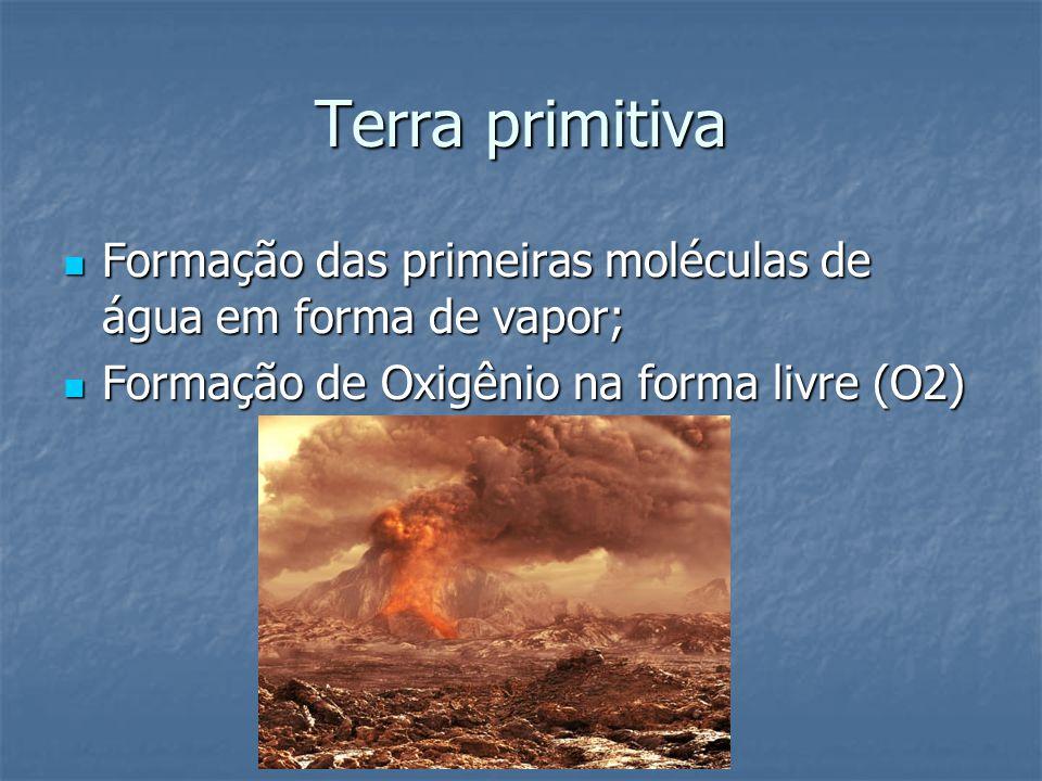 Terra primitiva Formação das primeiras moléculas de água em forma de vapor; Formação de Oxigênio na forma livre (O2)