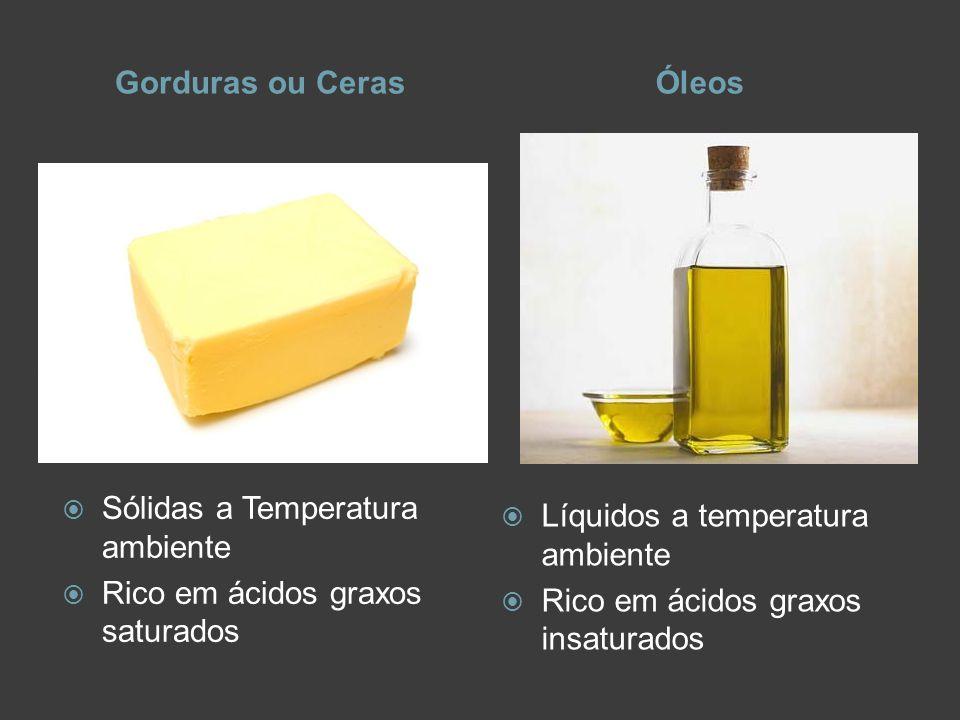 Gorduras ou Ceras Óleos. Sólidas a Temperatura ambiente. Rico em ácidos graxos saturados. Líquidos a temperatura ambiente.