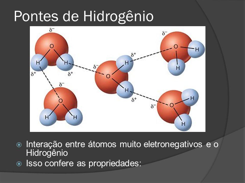 Pontes de Hidrogênio Interação entre átomos muito eletronegativos e o Hidrogênio.