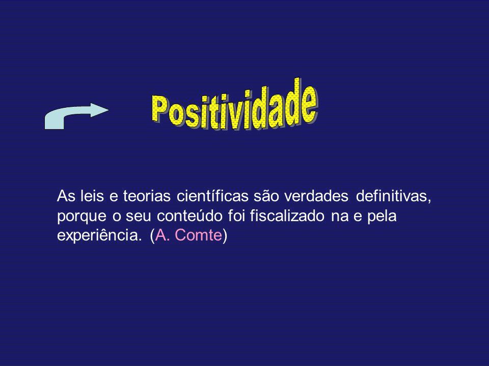 Positividade As leis e teorias científicas são verdades definitivas, porque o seu conteúdo foi fiscalizado na e pela experiência.