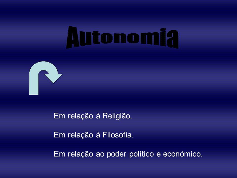 Autonomia Em relação à Religião. Em relação à Filosofia.