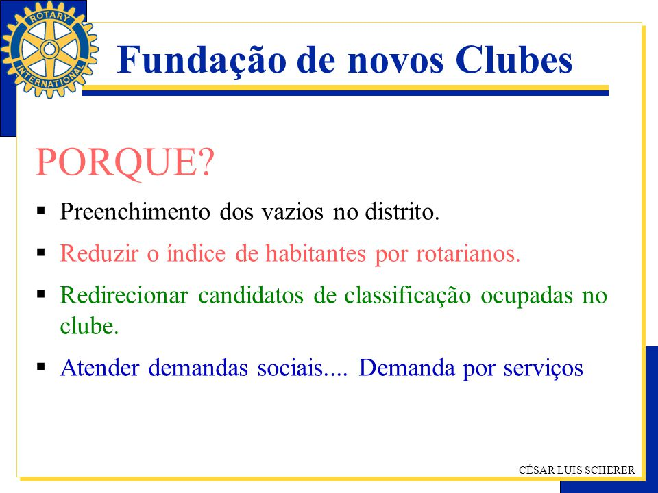 Fundação de novos Clubes