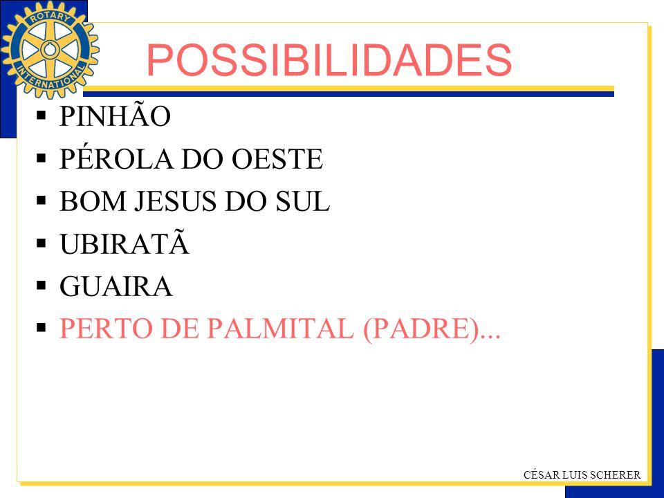 POSSIBILIDADES PINHÃO PÉROLA DO OESTE BOM JESUS DO SUL UBIRATÃ GUAIRA