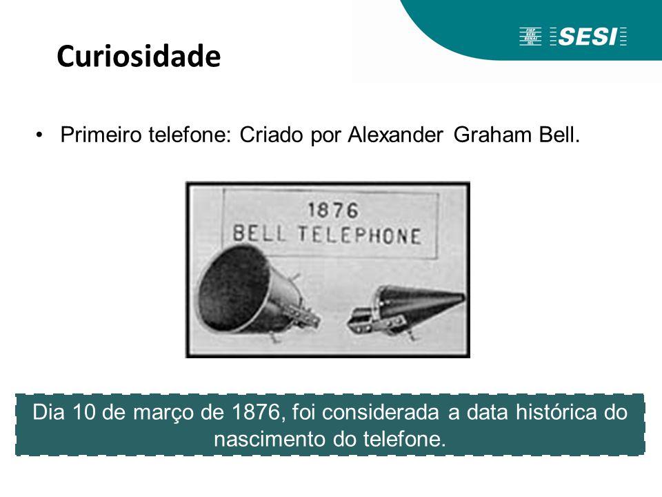 Curiosidade Primeiro telefone: Criado por Alexander Graham Bell.